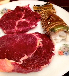 ribeye steak és languszta farok